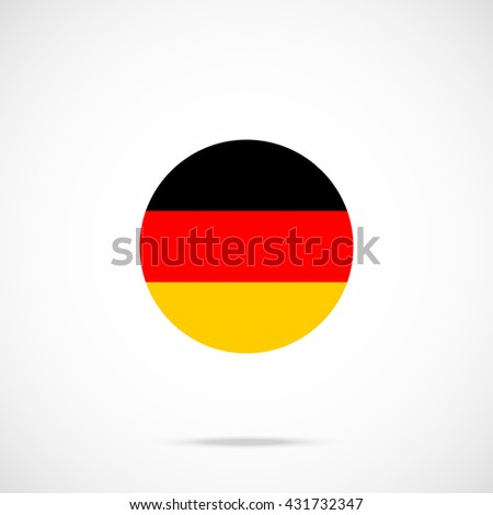 Germany flag icon with accurate official color scheme. Premium quality german flag in circle. Vector icon isolated on gradient background - stock vector