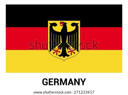 Germany flag isolated vector in official colors and Proportion Correctly. country's name label in bottom - stock vector
