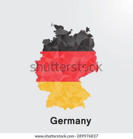 Germany flag map in geometric polygonal style.Abstract tessellation,background. Vector illustration EPS10 - stock vector