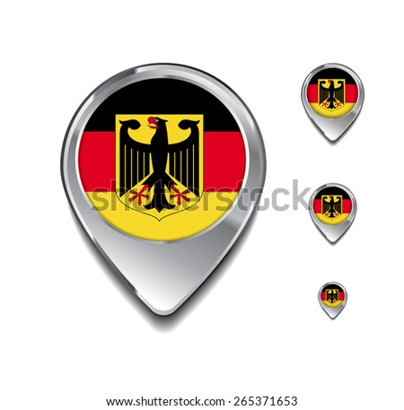 Germany flag map pointer. 3d Map Pointer with flag glossy button style on gray background - stock vector