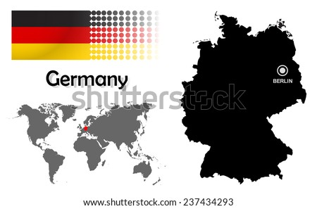 Germany info graphic with flag , location in world map, Map and the capital ,Canberra, location.(EPS10 Separate part by part) - stock vector