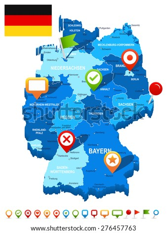 Germany map 3D, flag and navigation icons - illustration - stock vector