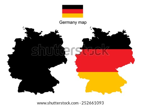 Germany map vector, Germany flag vector - stock vector