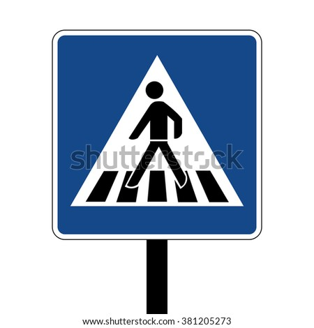 Germany Pedestrian Crossing Road Sign - stock vector