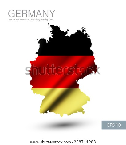 Germany vector contour map with waving Germany flag overlay on it. Vector illustration. EPS 10. - stock vector