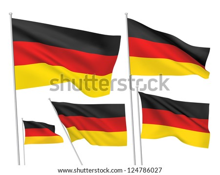 Germany vector flags. A set of 5 wavy 3D flags created using gradient meshes. - stock vector