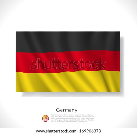 Germany waving flag isolated against white background, vector illustration  - stock vector