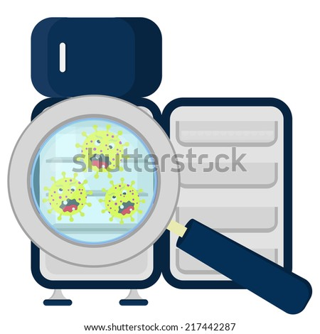 Germs in empty refrigerator enlarged by a magnifying glass. Germs on refrigerator empty - stock vector