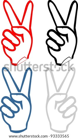"Gesticulate hand victory sign ""V"", ""Victory"" - set of cartoon vector illustrations isolated on white background. Stickers - stock vector"