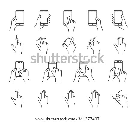 Gesture icons for smartphones. Linear icons for a mobile app user interface or manual. Simple outlined vector icons - stock vector
