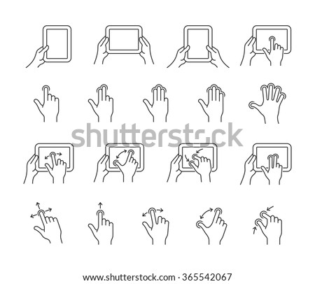 Gesture icons for tablet touch devices. Simple outlined vector icon set for a mobile app user interface or manual. Linear style - stock vector
