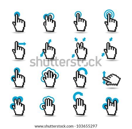 Gesturing icon set - stock vector
