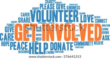 Get Involved word cloud on a white background.  - stock vector
