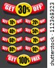 Get percent off, banners / labels / icons - stock vector