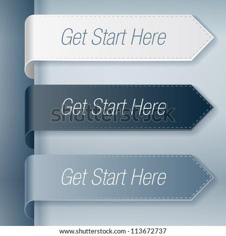Get start here stickers set - stock vector