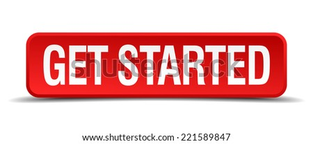 get started red 3d square button on white background - stock vector