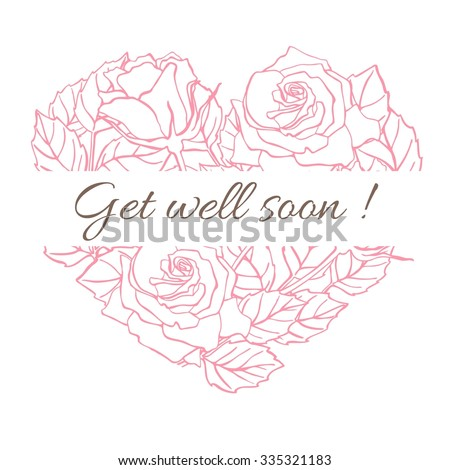 Get well soon. Friendly vector vintage card with flower drawing. - stock vector