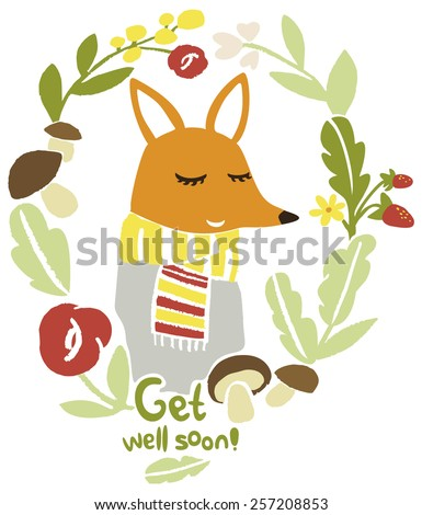 Get well soon wishes postcard. Funny red fox character in a floral frame. Best wishes. - stock vector