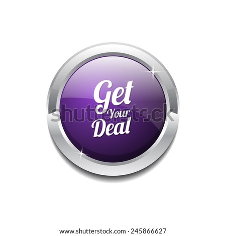Get Your Deal Purple Vector Icon Button - stock vector
