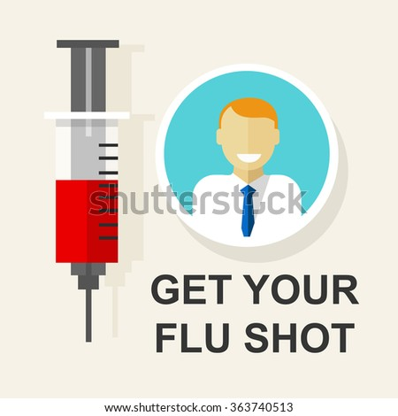 get your flu shot vaccination vaccine vector illustration - stock vector