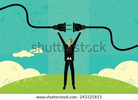 Getting Plugged In A businessman connecting a power cord. The man and electric plug are on a separate labeled layer from the background. - stock vector