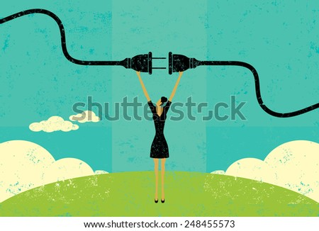 Getting plugged in A businesswoman connecting a power cord. The woman and electric plug are on a separate labeled layer from the background. - stock vector