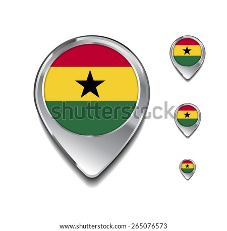 Ghana flag map pointer. 3d Map Pointer with flag glossy button style on gray background - stock vector
