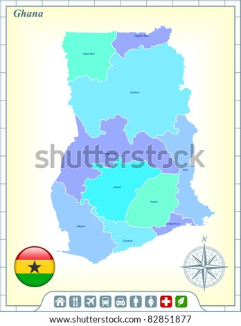 Ghana Map with Flag Buttons and Assistance & Activates Icons Original Illustration - stock vector