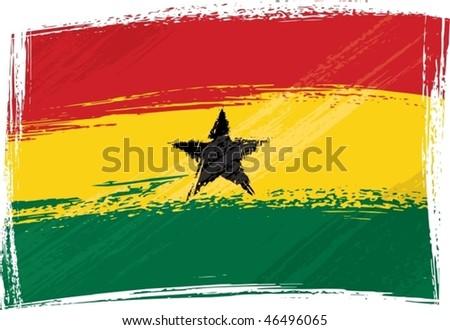 Ghana national flag created in grunge style - stock vector