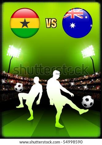 Ghana versus Australia on Stadium Event Background Original Illustration - stock vector