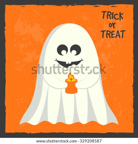 Ghost, halloween greeting card, vector illustration - stock vector