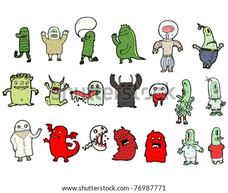ghosts, aliens and monsters cartoon - stock vector