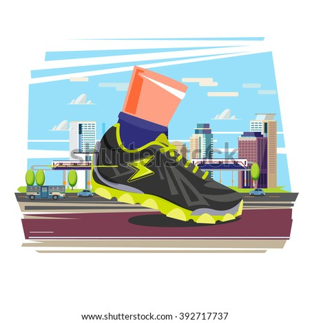Giant running shoe with city in background. city running and sport concept - vector illustration - stock vector
