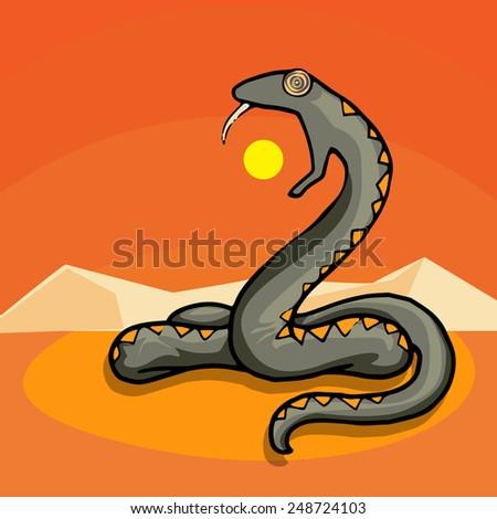 Giant snake in the dessert, eating the sun, myth, legend, monster, vector illustration - stock vector