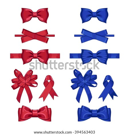 Gift bow. Decoration vector element. Gift bow vector isolated. Collection of gift bow on white background. Red and blue gift bows set. Bows with ribbons. Ribbon bow. Gift Bow collection. Gift Bow icon - stock vector
