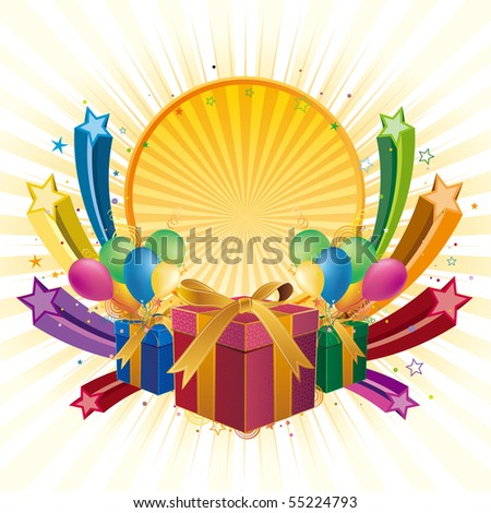 gift box,balloon,star,celebration background - stock vector