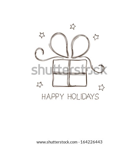 Gift box in doodle style - stock vector