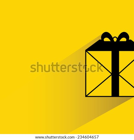 gift box on yellow background, flat and shadow theme - stock vector
