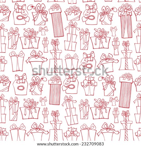 Gift box seamless pattern,background.Outline Hand drawing style.For Backdrop,background,fabric,Wallpaper.Doodle Holiday Vector illustration.  - stock vector