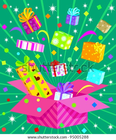 Gift box Series - Pop Boxes - stock vector