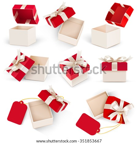 Gift box set with bow and label on white background. Vector illustration - stock vector