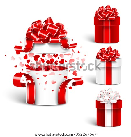 Gift box set with bow on white background. Vector illustration - stock vector
