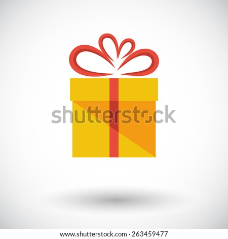 Gift box. Single flat icon on white background. Vector illustration. - stock vector