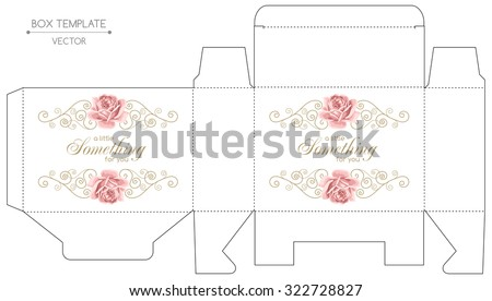 Gift box template with hand drawn roses and curly design elements in retro style. Die-stamping - stock vector