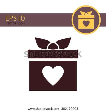 Gift box vector icon. Present with heart love icon. - stock vector