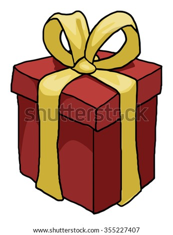 Gift box, vector illustration, isolated on white  - stock vector