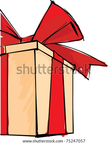Gift box with big red bow - stock vector