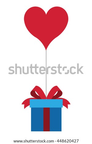 gift box with bow and heart shape balloon icon - stock vector