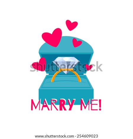 Gift box with colorful engagement ring. Proposal jewelry present. Greeting card design. Flat style. - stock vector