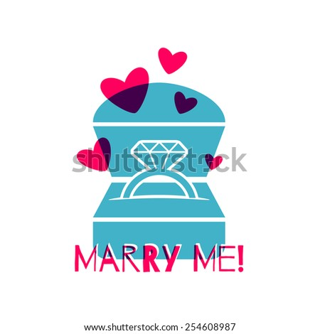 Gift box with engagement ring. Proposal jewelry present. Greeting card design. Flat style. - stock vector